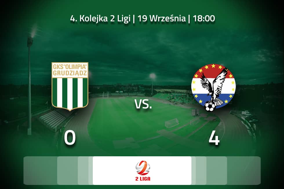 Skrót meczu 4. Kolejki Olimpia Grudziądz – Sokół Ostróda 0:4.