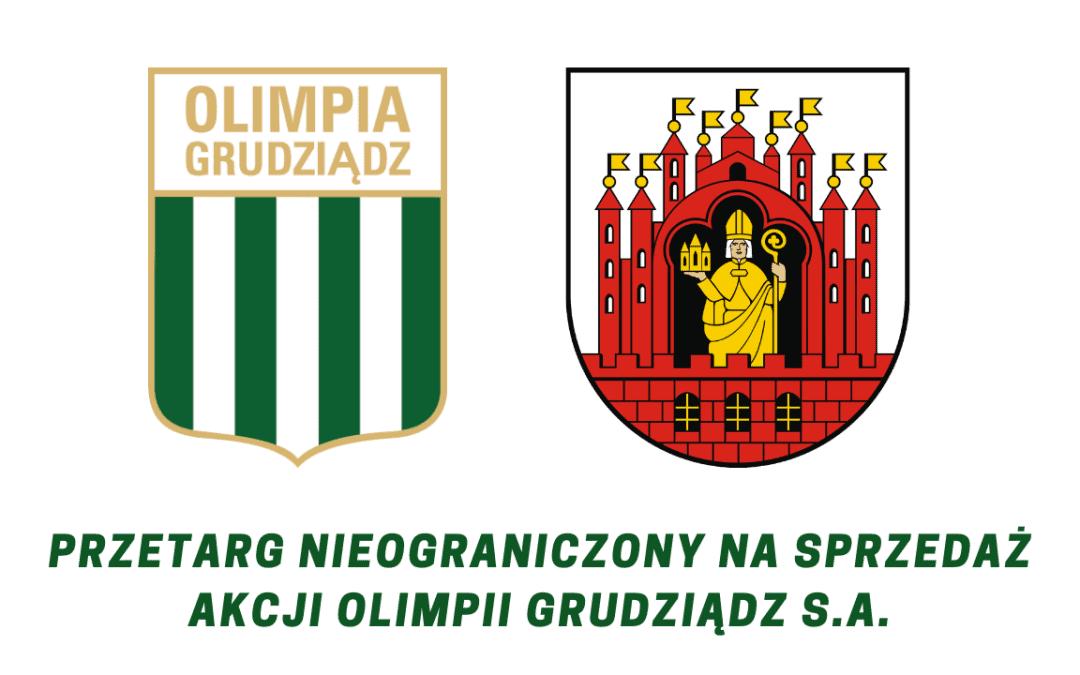 Ogłoszenie o przetargu nieograniczonym na zbycie akcji Olimpii Grudziądz S.A.